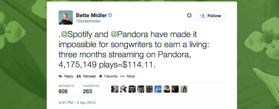 Bette Midler Blasts Pandora and Spotify via Twitter, Should Get To Know #irespectmusic