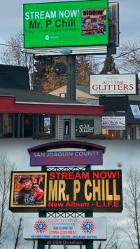 Billboards in Salem, Oregon and Stockton, California